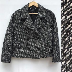 Wool Alpaca Black White Tweed Jacket Blazer
